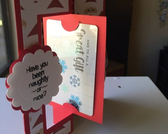 have you been naughty or nice santa claus Handmade Greeting Card with Gift Card Holder