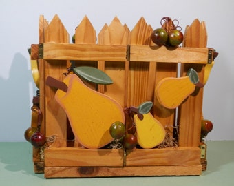 Wood Picket Fence & Fruit Table Caddy Paper Napkin Condiment Letter Holder Planter Pears, Cherry Design Country Picnic Dinner Decor Display