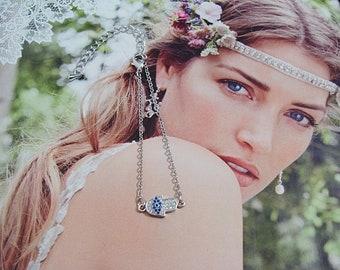 Hamsa Evil Eye Chain Bracelet in 925 Sterling Silver and Rose Gold Plated - Hamsa Hand Jewelry - Hamsa Jewellery