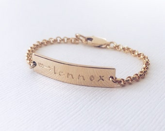 Personalized Baby Bracelet / Gold, Rose Gold, or Silver Bar Bracelet / Sterling Silver Baby Bracelet / Rose Gold Baby Bracelet
