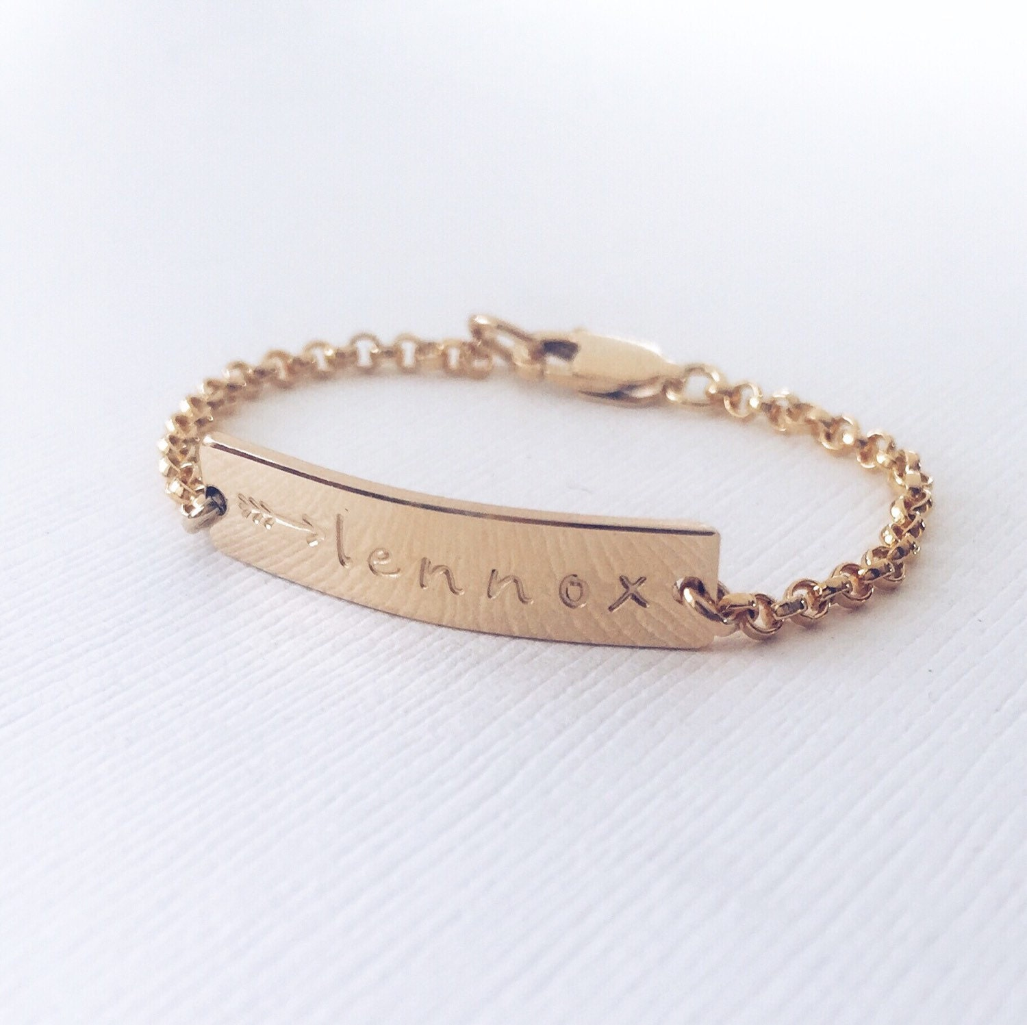Personalized Baby Bracelet Gold Rose Gold or Silver Bar