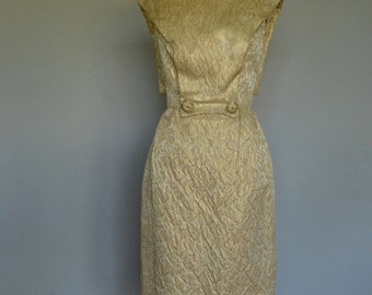 Gold Brocade 1950s Futuristic Dress