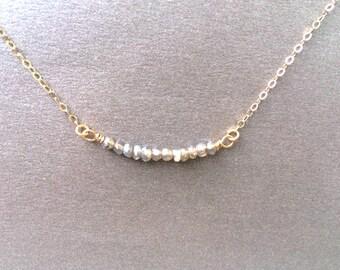 Layered Necklace, Labradorite Bar Necklace, Beaded Bar Necklace