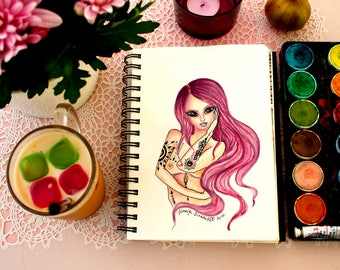 Tattoo girl print Pink girl painting Watercolor girl illustration Purple hair girl illustration Tattoo girl art print Pink purple girl art