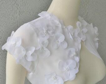 Wedding Bolero Shrug White or Ivory Chiffon Embellished With Hand Sewn Flowers and Beads