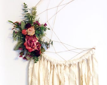 White Moon Dream Catcher with Dried Flowers