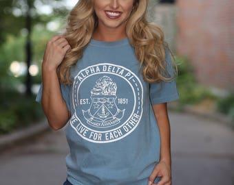 Alpha Delta Pi Comfort Colors Short Sleeve and Long Sleeve Tshirt - ADPi T-shirt - Alpha Delta Pi Lettered Shirt