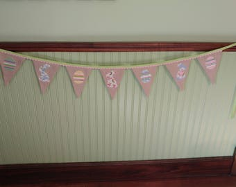 Burlap Easter Bunting with Floral Bunnies and Decorated Eggs, Spring Bunting, Easter Decoration, Cottage Chic