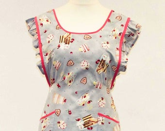 Vintage apron,1940's style apron,Cake apron