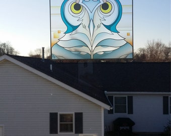 """Owl """"Stained Glass"""" Style WINDOW CLING"""