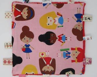 "Pink flat square shape motif ""characters"""
