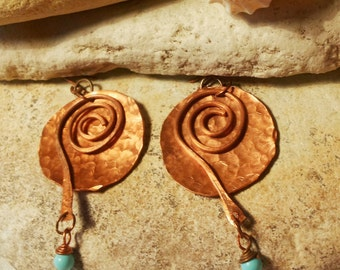 Copper earrings with turquoise balls