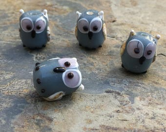 Grey Owl Beads, Bird Beads, Owl Beads, 16mm, 4 Beads per package