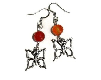 Butterfly Earrings Short Earrings Silver Earrings Carnelian Earrings Gemstone Earrings Spring Earrings casual earrings everyday earrings