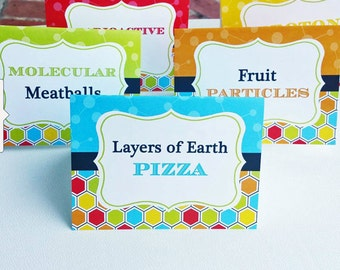 EDITABLE Super Science Party Party Tent Style Buffet Labels Printable - Instant Download - Super Scientist Collection