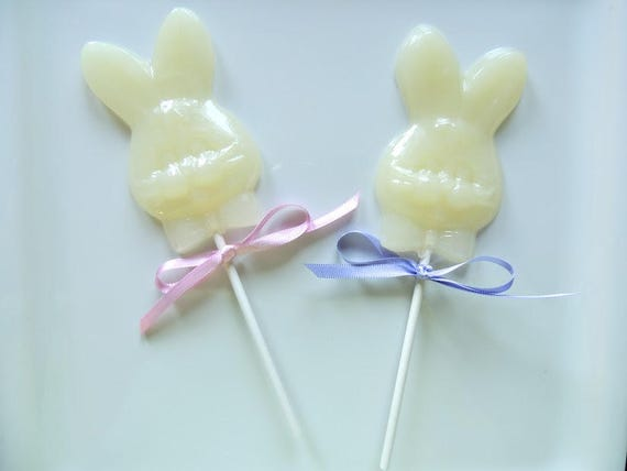 6 Large Bunny Rabbit Lollipops Easter Bunny Party Favors Spring Bunnies