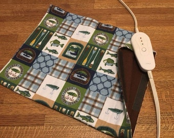 """Electric Heating Pad Replacement Cover 12"""" x 15"""" ~ gone fishing"""