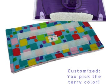 "Reusable Pads fits Swiffer Wet Jet, ""COLOR LAB BLOCKS"". Washable Pads for EcoFriendly cleaning with your Swiffer WetJet. EcoGreen Pads"