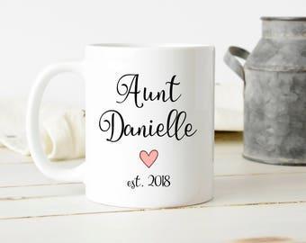 custom aunt mug, pregnancy announcement,  Aunt mug, aunt coffee mug, aunt custom mug,  aunt gift, personalized aunt mug, mother's day mug,