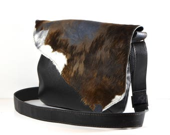 Brown, blue, and black, calf skin, upcycled, messenger style, cross-body, leather, shoulder bag