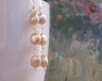 Long Dangle Pearl Earrings, Natural Pink Pearl, Sterling, Leverback Pearl Earrings, Pale Peach Pearl Earring, by MagpieMadness for Etsy