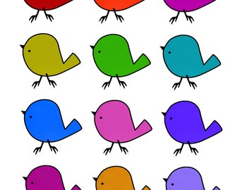 Little Birds in Bright Colours