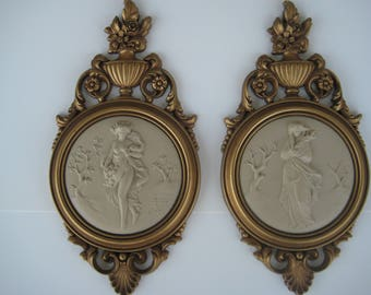 Syroco Wood Wall Decor Plaques Classical Scenes 1960's