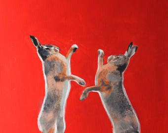 Acrylic Painting of Fighting Hares