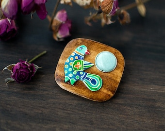 Blue Bird wooden gemstone brooch, Slavic medieval style hand painted jewelry, woodland boho fashion jewelry, mint blue nephrite and brown