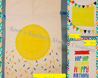 Personalized Canvas Birthday Bags Drawstring Birthday Sack