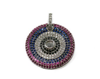 Lovely Bead Multicolor Microfiber Pave CZ Silver Charm (23 mm)
