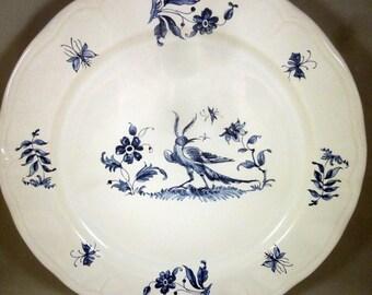 Varages Blue & White Bird plate FRANCE