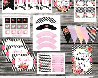 DIY Printable Party Package -2016 Mother's Day Collection-Baby Shower -Banner -Favor Tags -Tent Cards -Cupcake Toppers