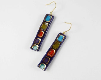 Ceramic earrings, multicolour with gold .