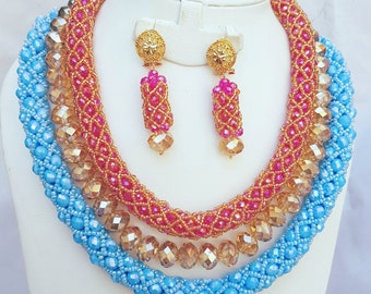 Pink and Blue with Gold Crystal Party Bridal African Beads Necklace Wedding Set