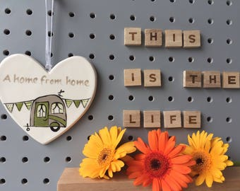 A home from home - green vintage caravan - hand painted ceramic heart
