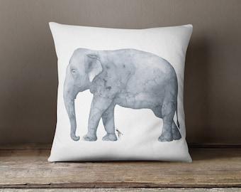 Gray Elephant Pillow \\ Majestic Elephant \\ Elephant \\ Free Elephant \\ Gray Elephant Pillow \\ Watercolor Painting \\ Watercolor Elephant