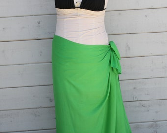 Apple Green color-Pareo-solid color-full sized-rayon- sarong-, pareau-fringeless