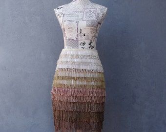Ombre Fringe Skirt Tango Skirt Vintage Tassels Tango Dance US size 6 EU size 36