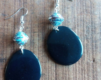 1406 - earrings in Navy Blue tagua or vegetable ivory, and handcrafted paper beads