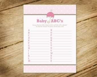 Baby Shower Game - Baby Abc's Pink and Brown Girl - Printable Instant Download
