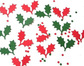 100 Holly Leaves and Berry Confetti, Holiday Party Decorations - No491