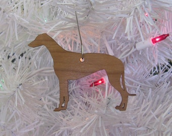 Greyhound Ornament in Wood or Mirror Acrylic Customizable with Name