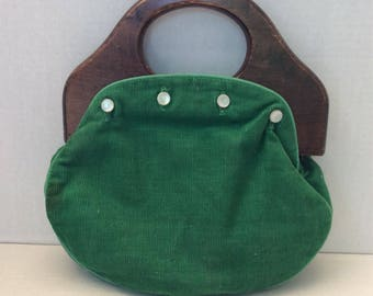 Vintage DeLanthe Wood Handled purse - Green corduroy/tartan