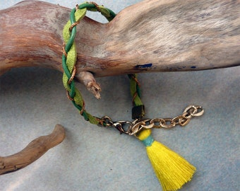 Green braided bracelet, neon tassel