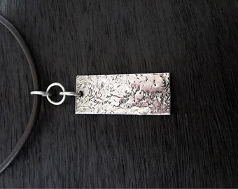 Long Rectangular Textured Sterling Silver Artisan Pendant (one) (N)