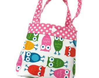 Toddler tote little girl purse owl tote pink tote owl purse little girl birthday gift toddler gift tot tote water resistant lining