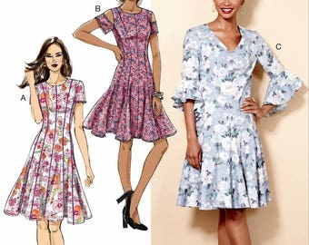 Sewing Pattern Women's Flared Dress Pattern, Petite Dress Pattern, Drop Waist Flared Dress Pattern, Butterick Sewing Pattern 6514