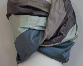 Gray green Shantung silk shawl
