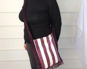 Silky Stripes & Coruroy Messenger Bag/Shoulder Bag/Cross Body Bag/Purse/Tote/Fabric Bag